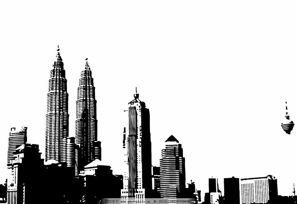 城市剪影 高楼 大厦 剪影 黑白 天际线 城市建筑 建筑家居 矢量 eps