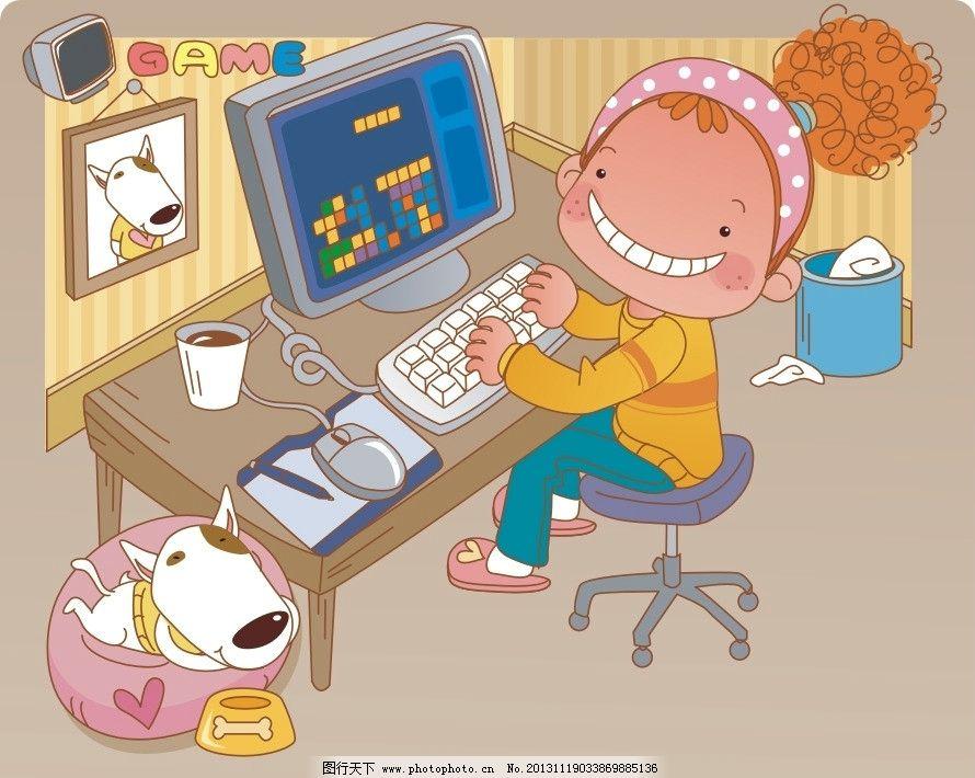 上网 打游戏 玩电脑 卡通 儿童 儿童印花 服装印花 图案 图形设计