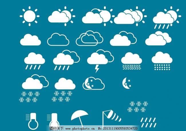 白色 气象 云朵 天气 多云 小雨 雨滴 太阳 图标 温度计 雨雪 大风