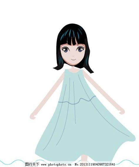 卡通女生漫画 卡通 女生 蓝色 卡通头像 简单 儿童幼儿 矢量人物 矢量