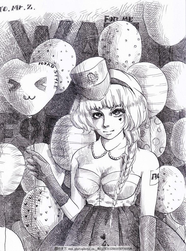 动漫人物 原创 气球 校园 游乐园 线稿 单幅 绯幻动漫社 动漫动画