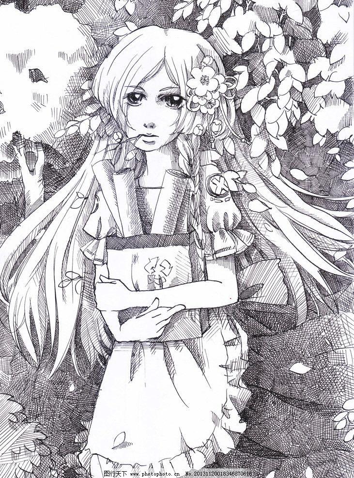 动漫人物 动漫 原创 围裙 校园 画卷 森林 线稿 单幅 绯幻动漫社 动漫