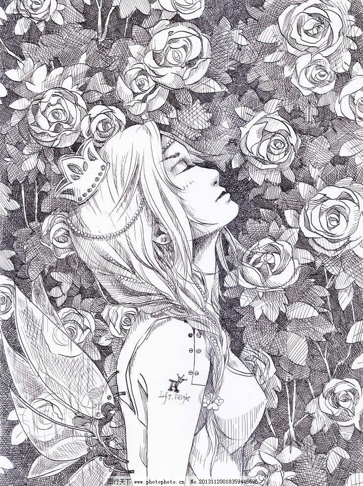 动漫人物 原创动漫 绯幻动漫社 玫瑰园 少女 翅膀 动漫 动漫动画 设计
