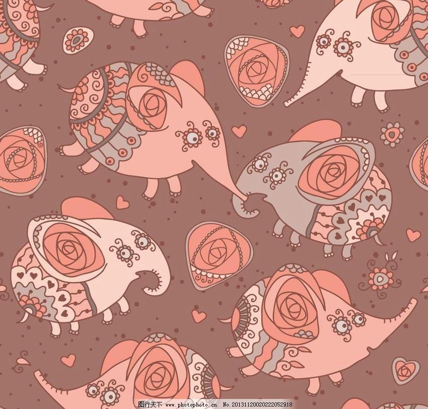 小象花纹 卡通 可爱 小象 大象 花卉 欧式 古典 花纹 无缝 时尚 梦幻