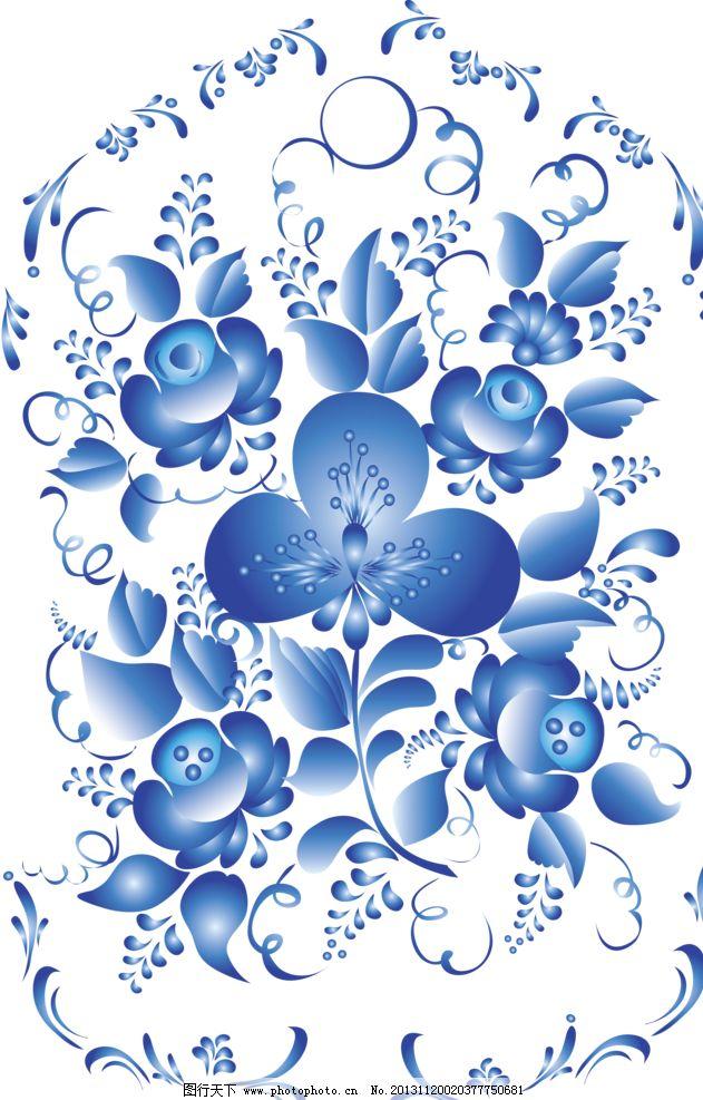 手绘花朵 移门花纹 青花 青花瓷 陶瓷纹样 青花瓷纹样 欧式花纹 古典