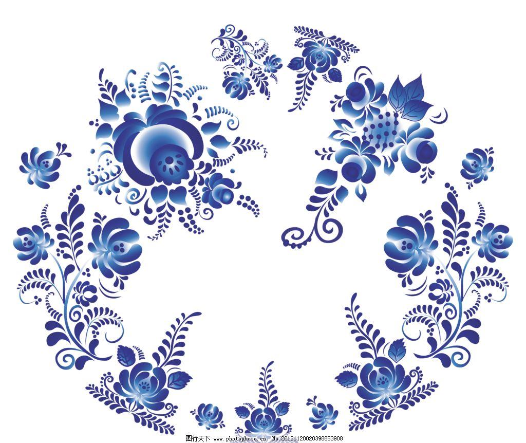 花纹背景 手绘花纹 精美花纹 青花瓷花纹 手绘花朵 移门花纹 青花