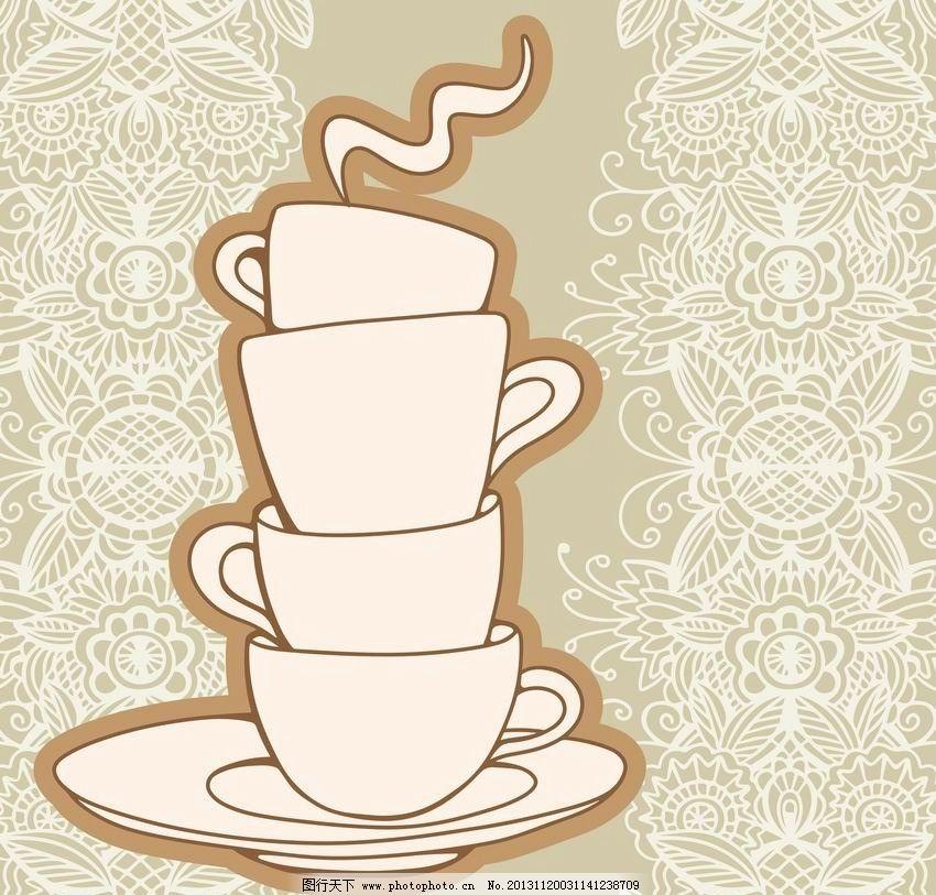 茶杯 手绘漫画图