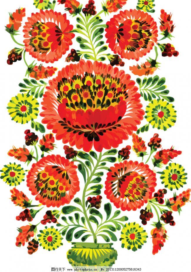 欧式花盆矢量图