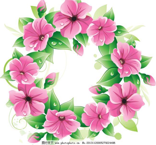 手绘花纹模板下载 手绘花纹 花环 相框 圆形 唯美 手绘花朵 移门花纹