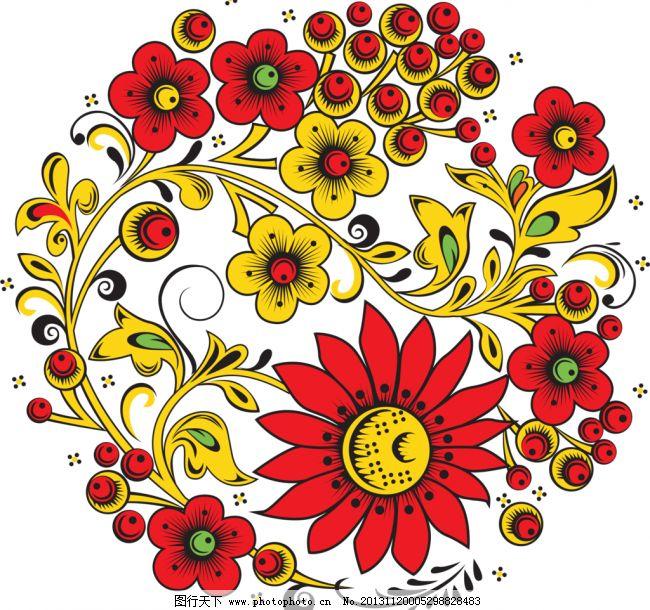 手绘花纹 唯美 手绘花朵 圆形花纹 移门花纹 古典花纹 欧式花纹 绚彩