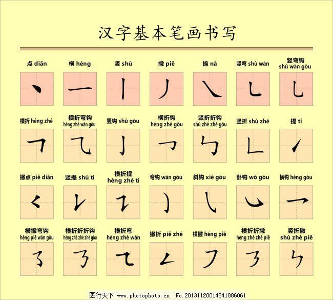 汉子基本笔画书写免费下载 汉字书写 儿童趣味教育 原创设计 其他原创