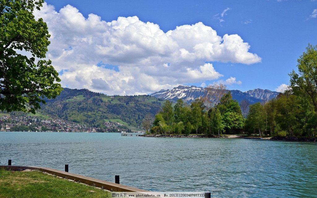 湖泊 湖水 树木 树林 天空 自然 自然风景 自然景观 摄影 300dpi jpg