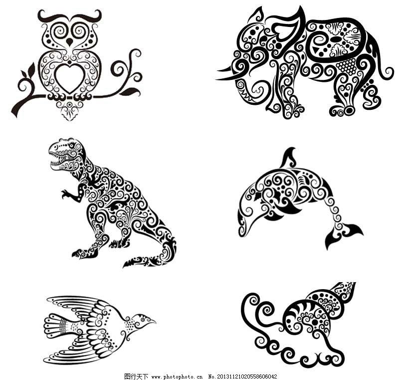 动物 猫头鹰 大象 恐龙 鱼 海豚 燕子 鸟 田螺 海螺 矢量 手绘 线描