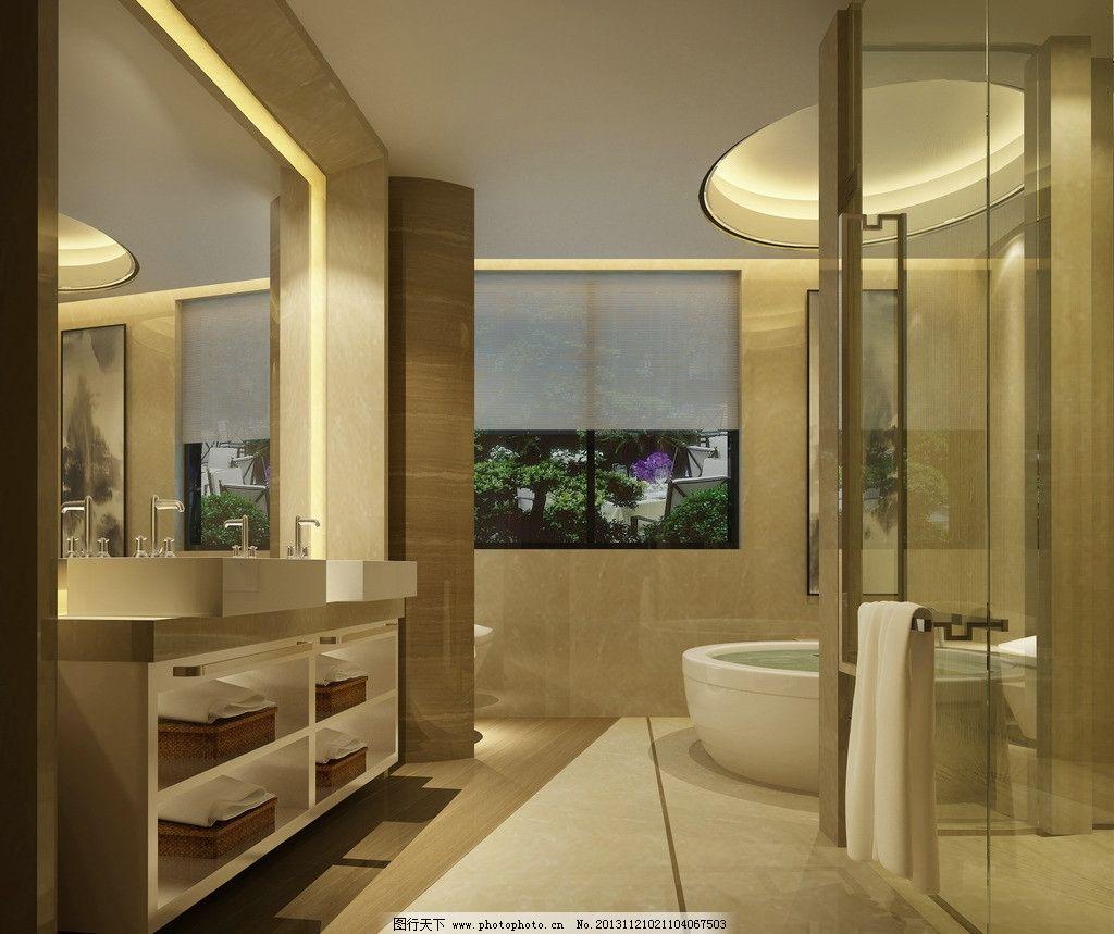 卫生间效果图 现代 淋浴房 浴缸 干挂大理石 木纹砖 异形吊顶 3d制作
