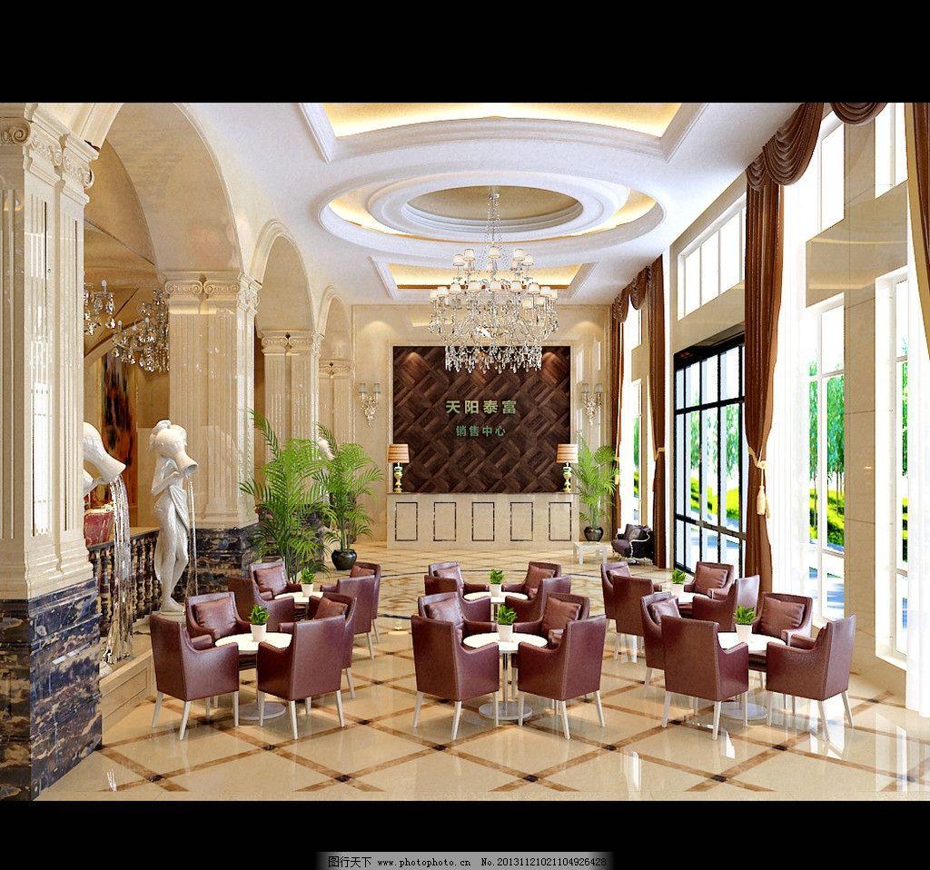 欧式大厅效果图 欧式 大厅啡网纹 大理石 大理石斜铺 斑马木 金箔纸