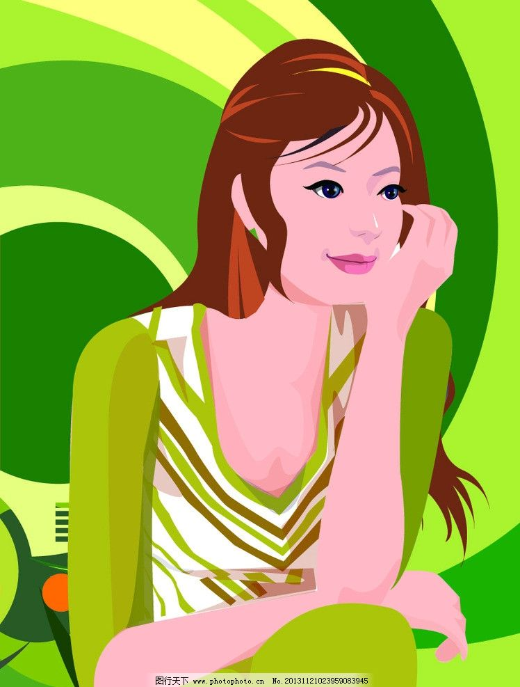 时尚女人 卡通美女 时尚 女性 女人 人物 背景 橙色 底纹 欧式花纹
