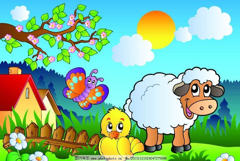 卡通背景 卡通动物 小鸟 山羊 自然风光 野生动物 手绘动物 矢量素材