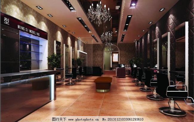 理发店效果图 仿古砖 镜子 欧式壁纸 欧式吊灯 理发店效果图设计素材