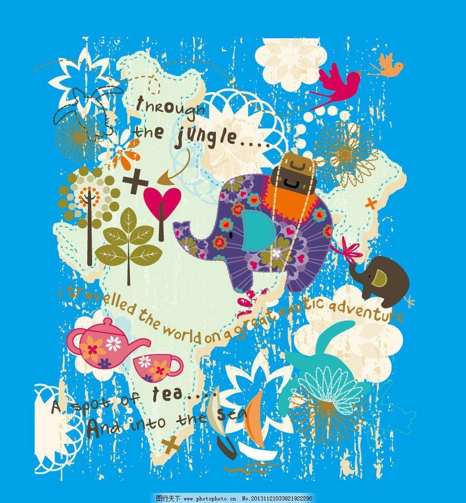 卡通画 动物乐园 树林 小象 象 动物园 卡通 儿童 t恤印花 儿童印花
