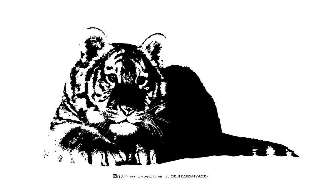 老虎线稿图 手绘 速写 黑白 动物 大王 老虎 写生 野生动物 十二生肖