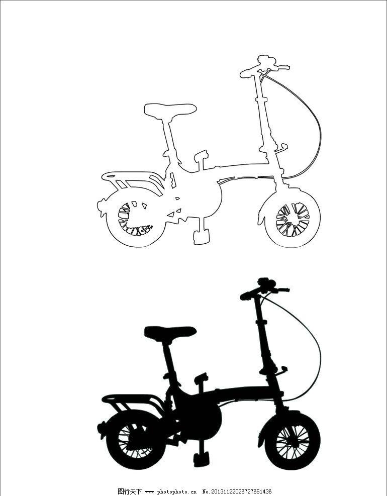 小自行车 自行车轮廓 自行车阴影 cdr素材 矢量素材 交通工具 现代
