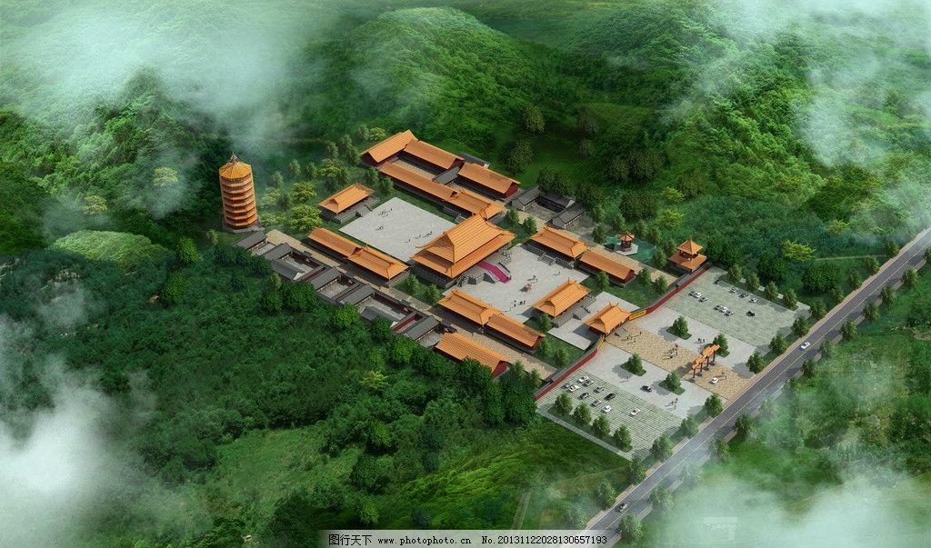 寺庙 寺庙鸟瞰图 鸟瞰图 景观鸟瞰图 中国寺庙 psd分层景观设计图