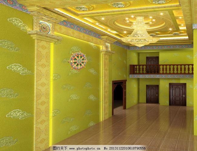 效果图 北京家庭佛堂设计 佛堂吊顶设计 法轮 长信宫灯型柱子 水晶灯