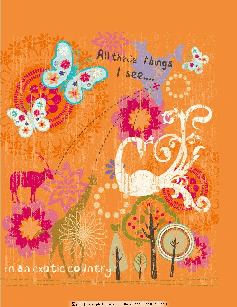 卡通印花 蝴蝶 动物园 长颈鹿 小鹿 森林 卡通动物 儿童 儿童印花