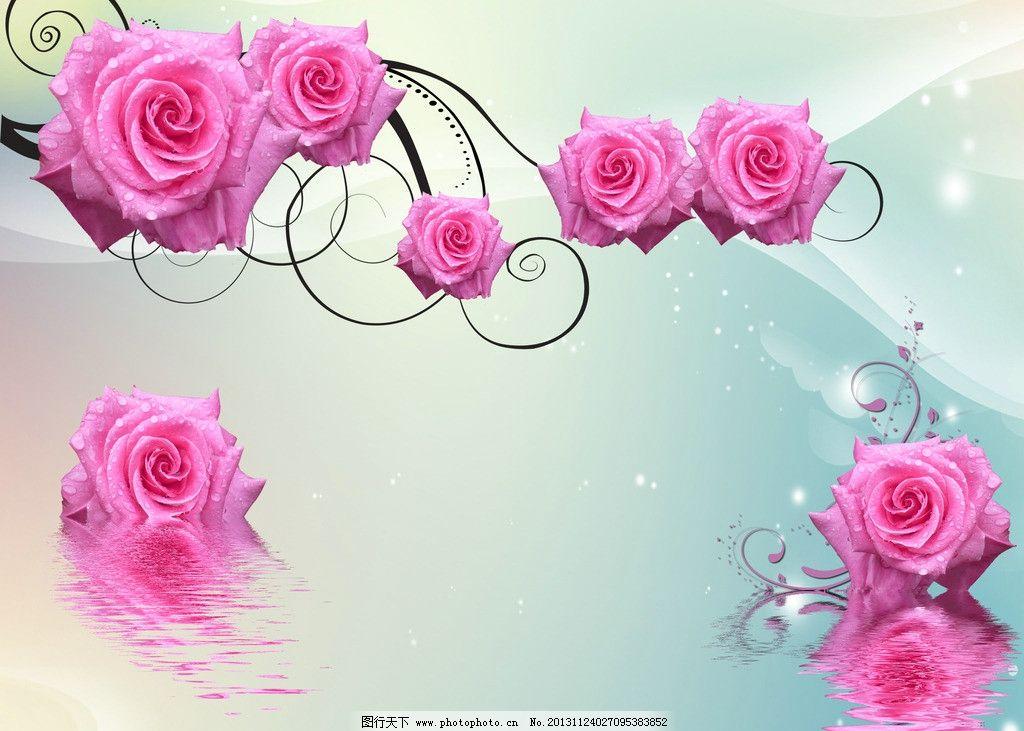 水上玫瑰 水纹 花纹 水珠 倒影 粉色玫瑰 花草 生物世界 设计 300dpi