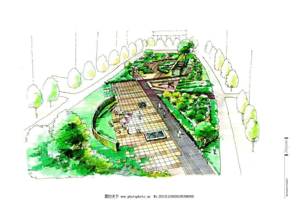 景观绿化景墙手绘效果图片
