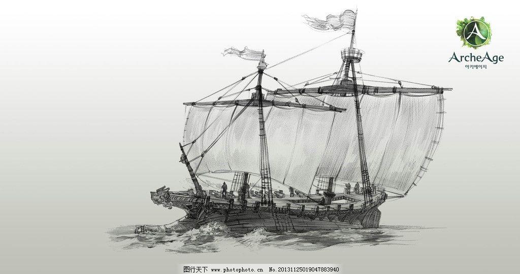 手绘帆船海盗船图片