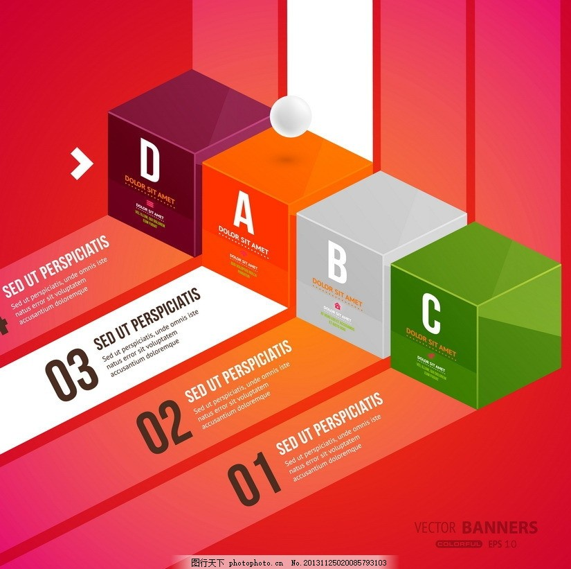 3d标签,数字 字母 正方体 立体 序号 排序 步骤-图行