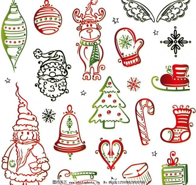 圣诞节装饰素材图片_手绘海报_海报设计_图行天下图库