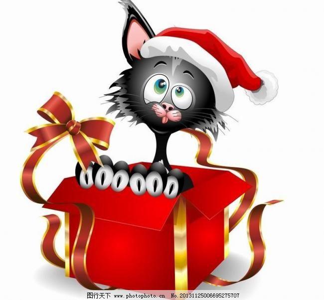 圣诞黑猫图片_手绘海报_海报设计_图行天下图库