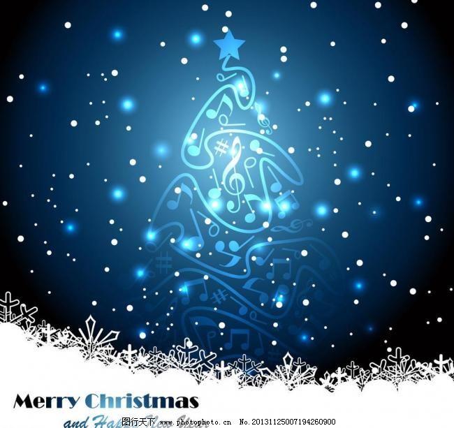 圣诞节背景 2014年新年背景 马年素材 创意圣诞树 音符 圣诞节快乐图片