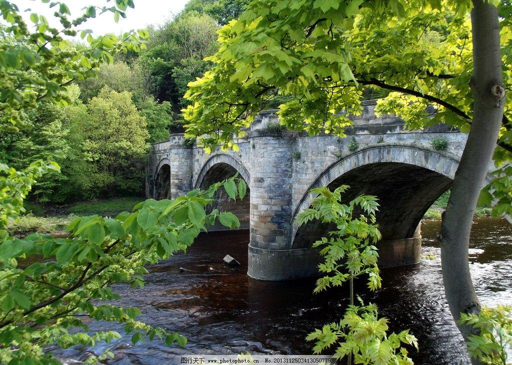 石桥 河流 树木 树林 小桥 流水 自然风景 旅游摄影 摄影 72dpi jpg
