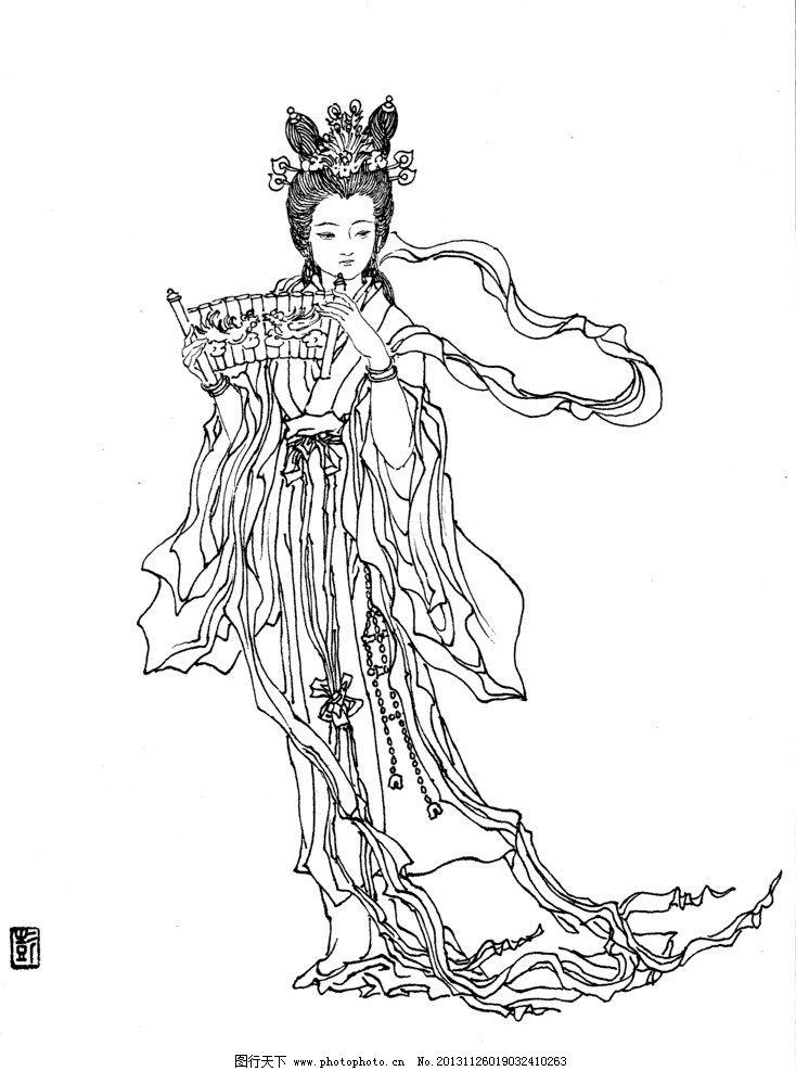 梨园弟子 线描 白描 工笔画 中国画 中国神话人物 传统人物 绘画书法图片