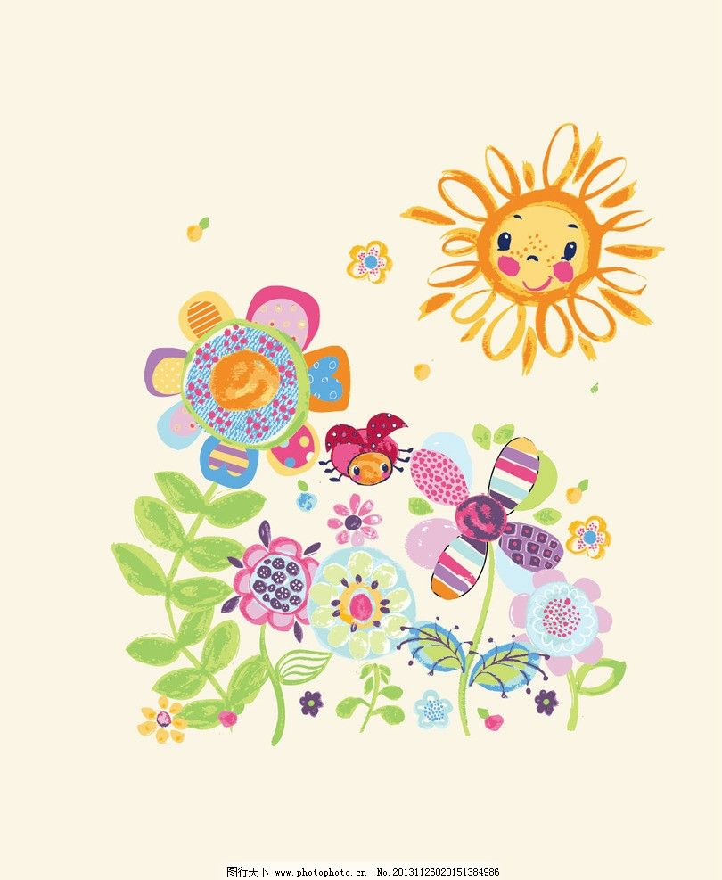 卡通画 花园 鲜花 花朵 太阳 儿童 卡通 t恤印花 儿童印花 服装印花