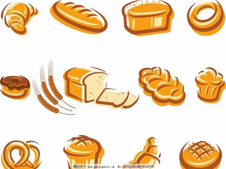 麦穗面包图标 麦穗 小麦 面包 营养 粮食      手绘 装饰 设计 背景