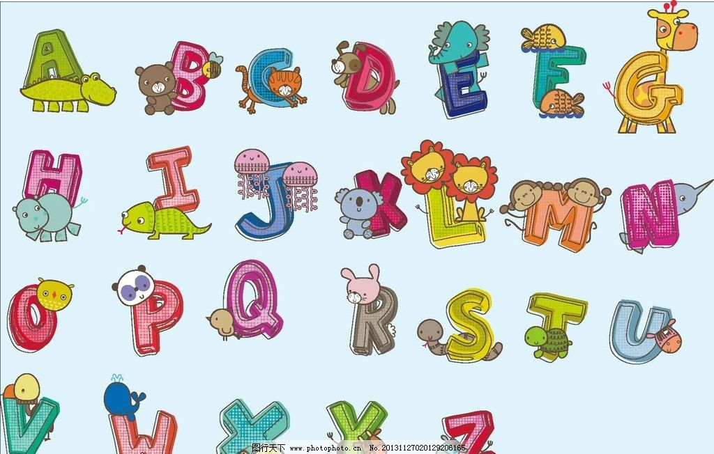 设计图库 标志图标 其他  卡通字母 卡通字母矢量素材 卡通字母模板图片