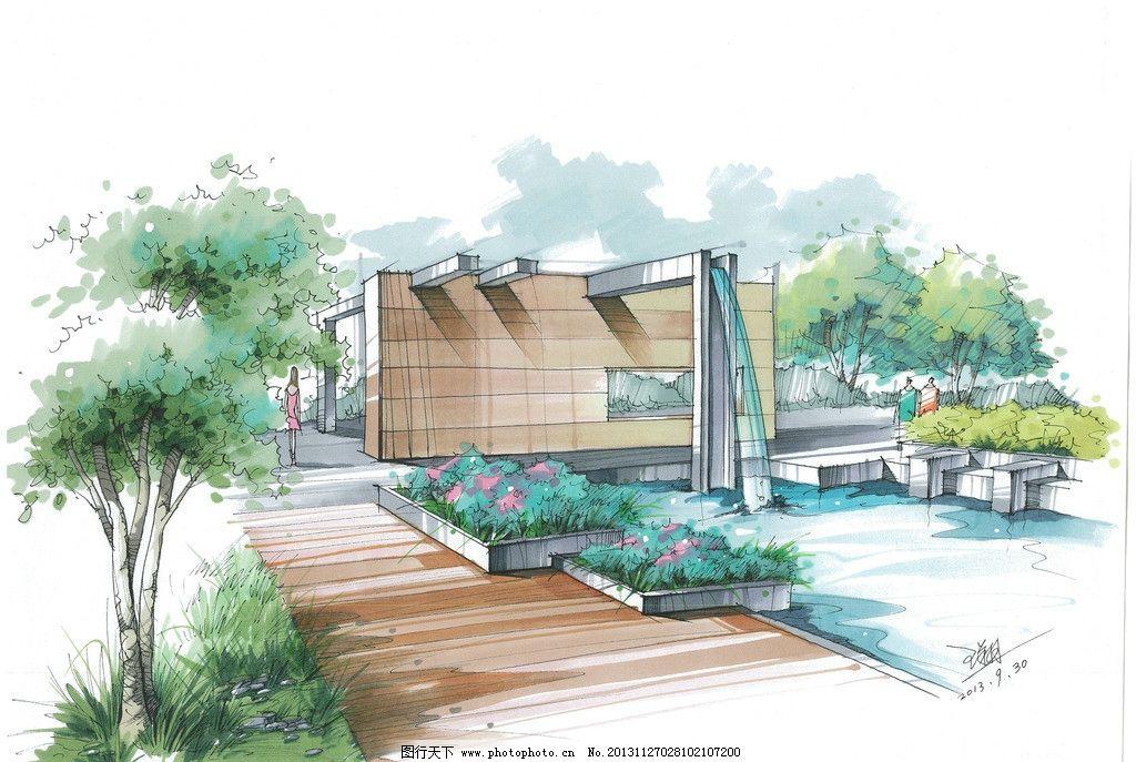 手绘 景观        快题 环艺 园林景观效果图 景观设计 环境设计 设计
