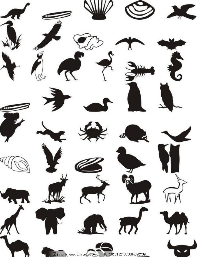 动物世界 剪影黑白图片