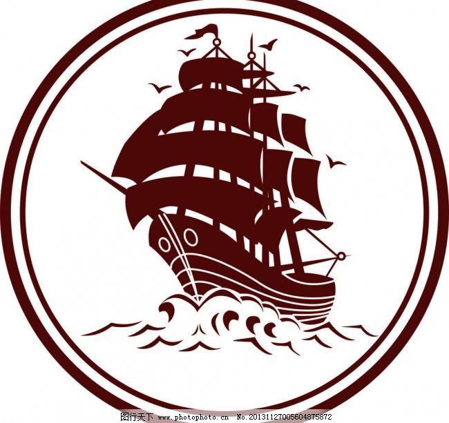 欧式帆船风格logo标志