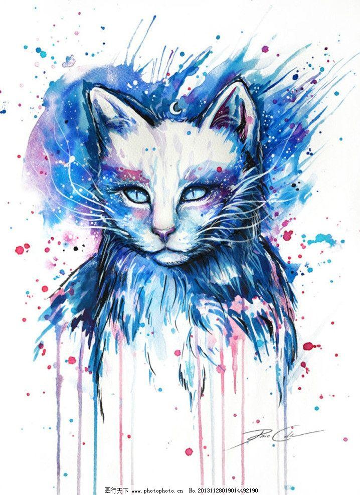 猫手绘 动物 水彩 抽象