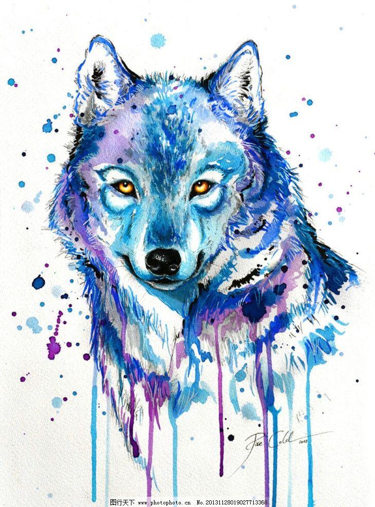 狼 动物 水彩 手绘 抽象 绘画书法 文化艺术