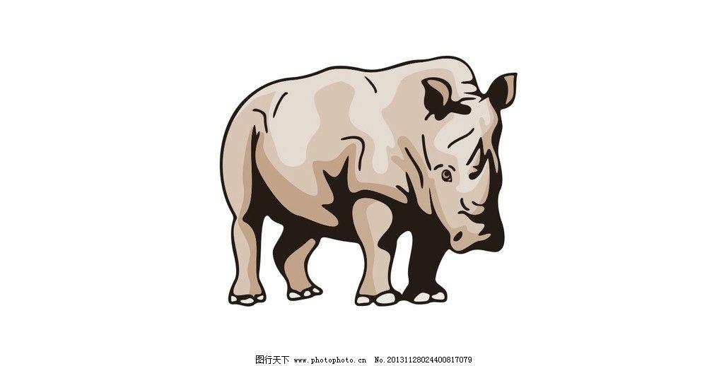 犀牛 犀牛矢量图 矢量 站姿 行走 野生动物 野生动物矢量图 矢量动物