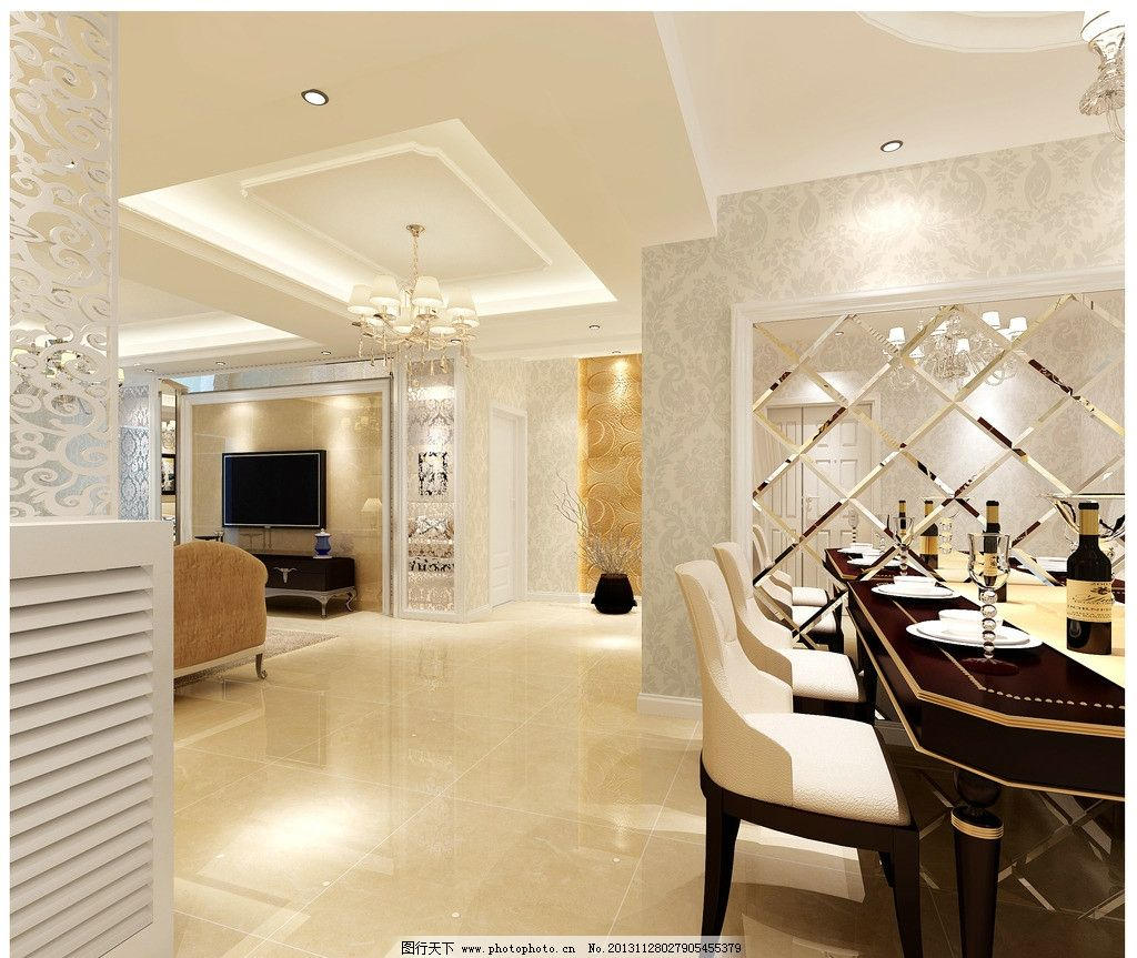 餐廳簡歐式效果圖 餐廳 歐式 簡歐 磨花 玻璃 吊燈 室內設計 環境設計