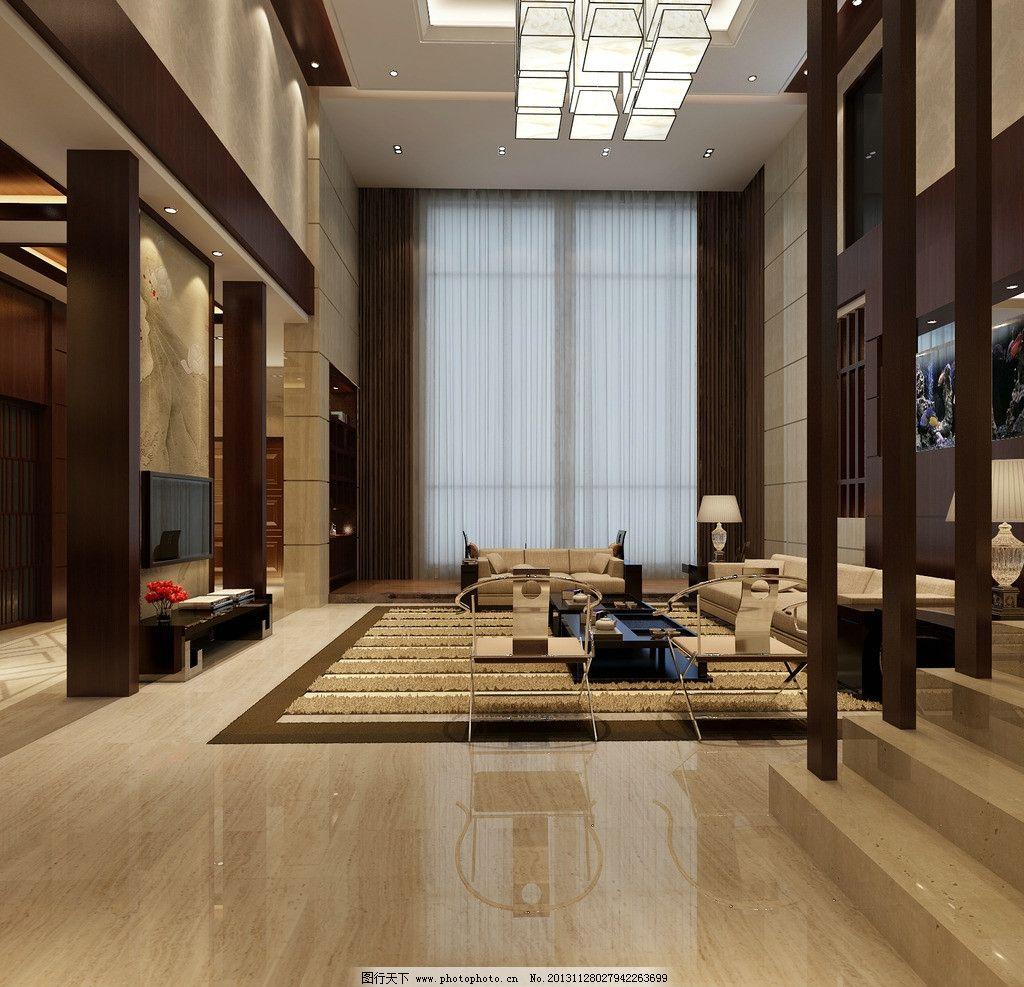 客厅效果图      过道 中式 混搭 古典 沙发 吊灯 室内设计 环境设计