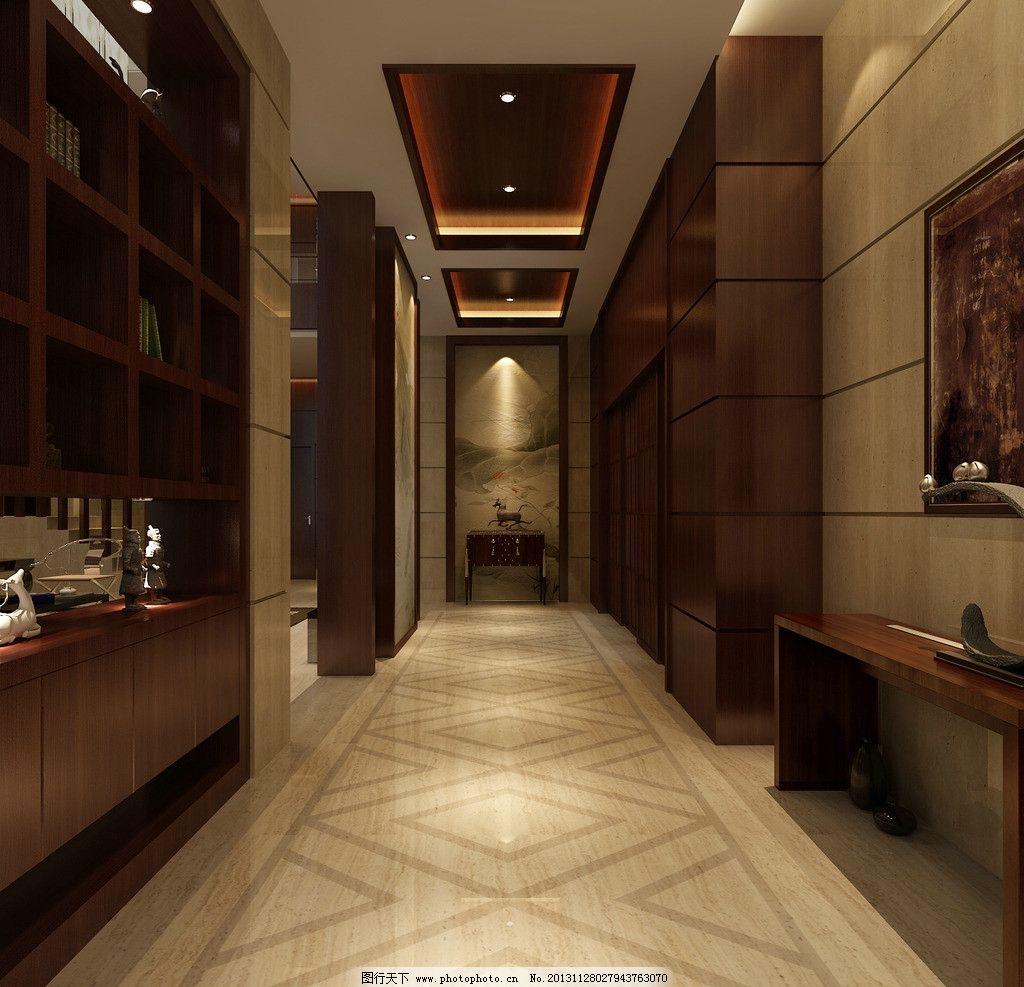 客厅过道处效果图      过道 中式 混搭 古典 室内设计 环境设计 设计
