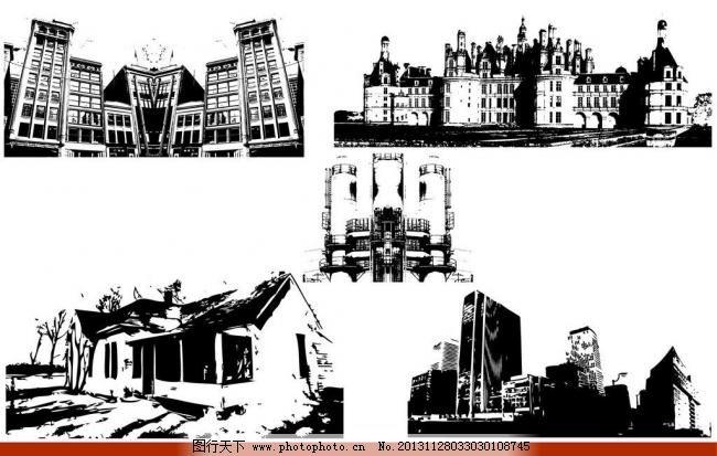 手绘建筑 手绘 建筑 城市 剪影 铅笔画 素描 速写 房屋 欧式建筑 国外